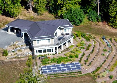 Aerial view of a Greenplan home
