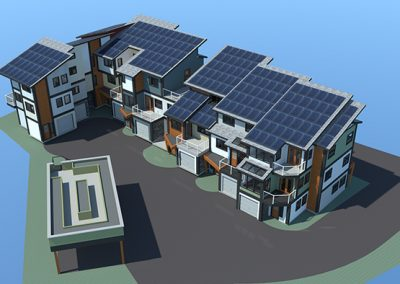 Apartment block with solar panels