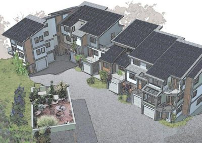 Rendered apartment block with solar roofing