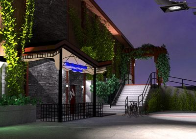 Nighttime rendering of commercial green development