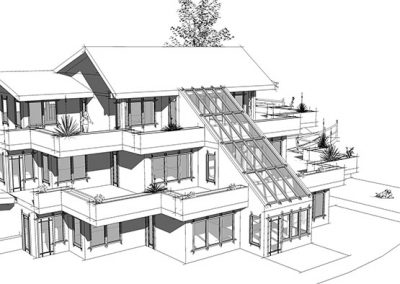 Technical drawing of custom green building design